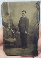 Antique Victorian Tintype Photograph Young Man w Suit Standing Chair