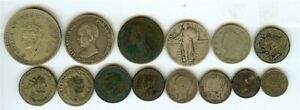 WORLD COIN LOT MIXED DATES AND DENOMATIONS 14 PIECE LOT!! SOME SILVER!!