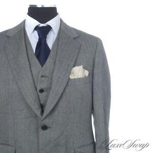 #1 MENSWEAR Vintage Polo Ralph Lauren Silver Grey Herringbone 3 Piece Suit NR