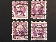 1932 Us 3 Cent Washington Scott# 720 Bureau PreCancels Used Lot of 4