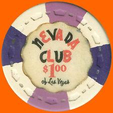 NEVADA CLUB $1 1959 SMALL CROWN CASINO HOUSE CHIP LAS VEGAS NV - FREE SHIPPING