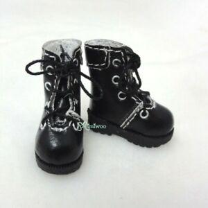SHP002BLK Mimiwoo 1/6 Bjd Doll Shoes Blythe PU Leather Medium Boots Black