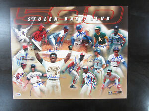 500 Stolen Base 16 x 20 Autograph Signed Photo Rickey Henderson Lou Brock PSA