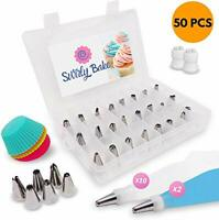 Cake Decorating 50 Piece Set. Stainless Steel Piping Nozzles Tips, 2 Reusable