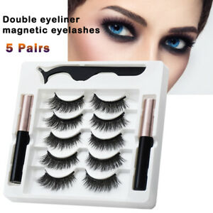 Waterproof Magnetic Eyeliner with Natural Eyelashes and Tweezer Set Long Lashes