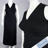 XXL Plus Vintage 1960s Sears Long Black Sleeveless Maxi Dress Empire 60s 70s