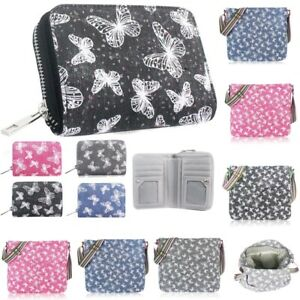 Womens Gillter Butterfly Zip Around Small Coin Purse Ladies Wallet Card Holder N