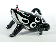 Murano Black and White Perched Glass Frog