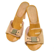 100% Auth CHANEL CC Logos Shoes Sandals Pink Suede Wood Vintage Size 35 V13462