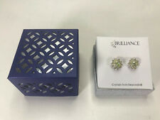 Brilliance Crystals from Swarovski Stud Earrings Silver Tone Yellow/Green Gems