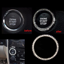 Car Bling Decorative Accessories Switch Button Start Silver Diamond Decor Ring