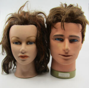 2 X Mannequin Head With Hair. Male + Female. Ideal Hat Hairpiece Photo Display