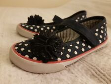 Girl's Spotty Blue Canvas Shoes by TU - size 9