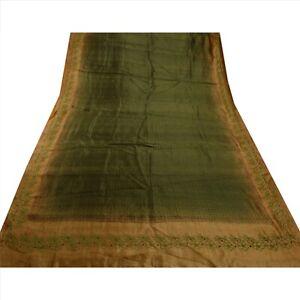 Tcw Vintage Saree 100% Pure Silk Embroidered Green Craft 5 Yd Fabric Sari