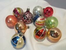 11 Vintage Feather Tree Christmas Ornaments - Balls - Mica Striped- Hand Painted
