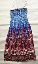 Sommerkleid  rosa weiß blau rot Strandkleid Kleid Knielang Bandeau 34/36/38 NEU