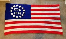 Large Vintage 13 Star 1776 1976 American Flag Handmade Crocheted Afghan Blanket
