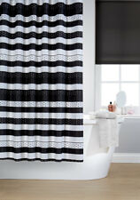 Waterline Vibrant Jet Black Polyester Shower Curtain Including 12 Black Hooks