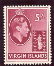 British Virgin Island 1938 KGVI 5s carmine (CH) MLH. SG 119.