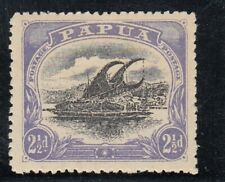 """New listing Papua Sg 78a 2.5d black and blue-violet thin """"d"""" at left Mh Cv $187"""
