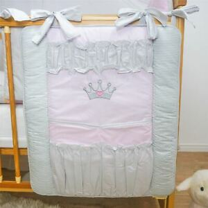 Nursery Baby Cot Tidy Organiser for Cot or Cot Bed - Crown (Pink)