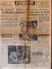 L'Equipe du 6/11/1958 - Basket : le basket français- Jazy -Foot, déclin hongrois