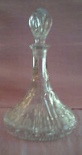 Vintage Large Cut Glass Ships Wine Decanter-Grape & Leaf Etching with Stopper