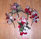 Lot 5 Vintage Christmas Corsages Mercury Glass Picks Mica Bells Chenille Santa