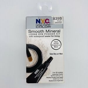 NYC Loose Eye Powder Kit 839B Frosty Shimmer with Waterproof Sealer for Lining