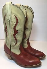FRYE WOMENS VINTAGE RED REPTILE  & CREAM LEATHER WESTERN COWGIRL BOOTS 7240 6B