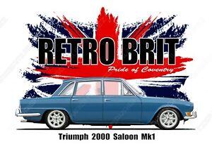TRIUMPH 2000 SALOON MK1  t-shirt.  CLASSIC CAR. OLD SKOOL. BRITISH FLAG. RETRO.
