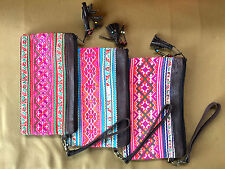 Brand New Thai Embroidered Ethnic Colourful Fabric and Leather Coin Purse