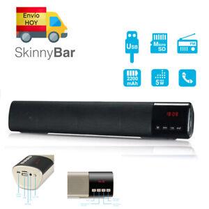 ALTAVOCES BARRA DE SONIDO 40cm BLUETOOTH MICROSD RADIO MP3 USB AUX BATERIA