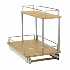 Household 2 Tier Sliding Under Cabinet Organizer with Bamboo Trays 11.5 Inch