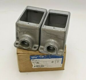 """2PC Eaton Crouse Hinds FD2 Condulet FD Device Box 3/4"""" Feraloy Iron Alloy 1-Gang"""