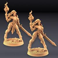 x2 Elena & Skimpy Female Human Fighters Guild Artisan Miniatures D&D 3D228