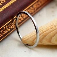 1.2mm Silver/Rose Gold 18K Plating Band Women Titanium Steel Tail Ring Size 3-10