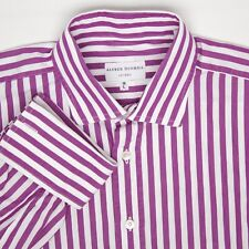 Alfred Dunhill Mens Dress Shirt 16/33 Purple White Stripe French Cuff Italy