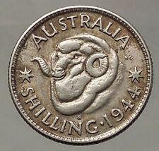 1944 AUSTRALIA Silver SHILLING Coin King George VI of United Kingdom RAM i57845