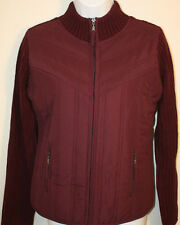 Womens Ladies Sweater Jacket NWT Creazioni Effeci Purple Bordeaux Zip Front Sz L