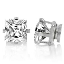 Silver Square Crystal Magnetic Earrings non Pierced Clip on Women Girls Men 8mm