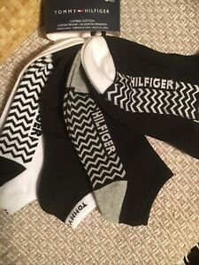 Tommy Hilfiger 6 Pack Combed Cotton Ankle Socks Black & White NWT!!🌙