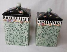 """Mary Engelbreit Me Ink 1999 Ceramic Trinket Box / Tea Jar Set Of 2, 4.5"""" & 4"""""""