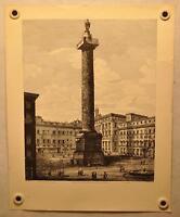 """Luigi Rossini """"Veduta della Colonna Antonina o sia Piazza Colonna"""" Etching Print"""