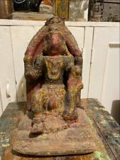 1800's Antique Wooden Paper Mache Hand Crfated Painted South God Shiva Figurine