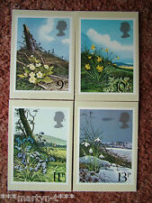 PHQ Stamp card set No 34 British Flowers 1979. 4 card set.  Mint Condition.