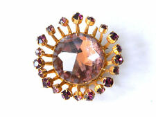 Vintage Bohemian Costume BROOCH w/ Big Faceted Pink Czech Crystal, 1950s Fashion