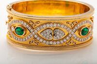Designer $24,000 9ct Tsavorite Garnet VS G Diamond 14k Gold Bangle Bracelet 90g