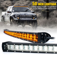 "Xprite 50"" LED Double Row Curved Light Bar w/ Amber Backlight for Jeep Truck ATV"