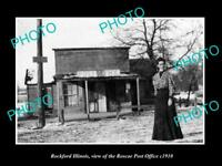 OLD LARGE HISTORIC PHOTO OF ROCKFORD ILLINOIS THE ROSCOE POST OFFICE c1910